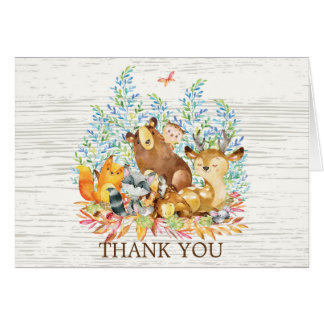 Woodland Animal Neutral Baby Shower Thank You Note Card