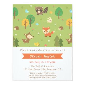 Woodland Animal Pattern Baby Shower Invitations