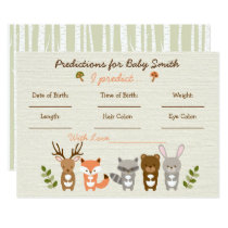 Woodland Animal Predictions For Baby Game Invitation