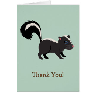 Woodland Animal,  Skunk on Sage Green Thank You Stationery Note Card