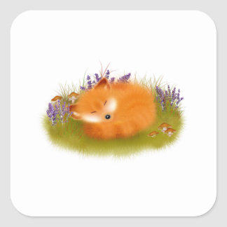 Woodland animal sleeping fox cub illustration square sticker