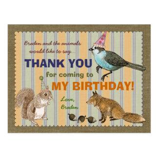 Woodland Animal Thank You Postcard