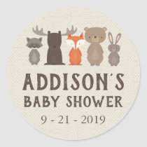 Woodland Animal Themed Baby Shower Circle Stickers