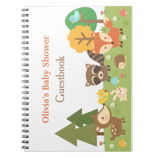 Woodland Animal Themed Baby Shower Guestbook Spiral Notebook