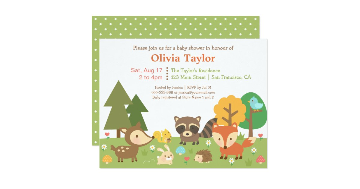 woodland animal themed baby shower invitations zazzle