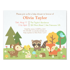 Woodland Animal Themed Baby Shower Invitations