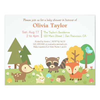 woodland creatures baby shower - boy card | zazzle, Baby shower invitations