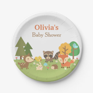 Woodland Animal Themed Baby Shower Party Supplies 7 Inch Paper Plate