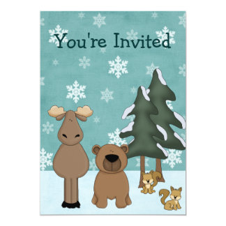 Woodland Animal Winter Birthday Party Invitation