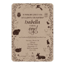 Woodland Animals 1st Birthday Invitation
