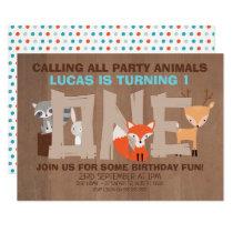 Woodland Animals 1st Birthday Party Invitation