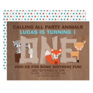 Woodland Animals 1st Birthday Party Invitation