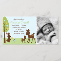 Woodland Animals Baby Birth Announcements