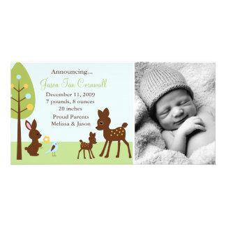 Woodland Animals Baby Birth Announcements
