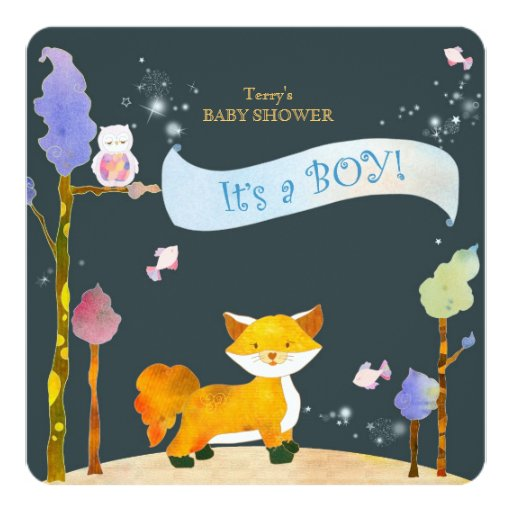 woodland animals baby boy baby shower card zazzle