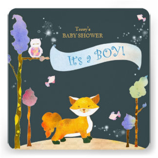 Woodland Animals Baby Boy Baby Shower Invitations