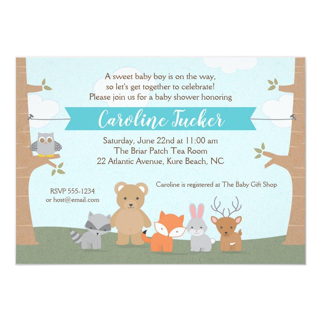 Woodland Animals Baby Boy Shower Invitation