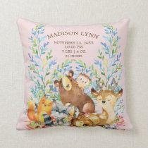 Woodland Animals Baby Girls Birth Stats Pillow