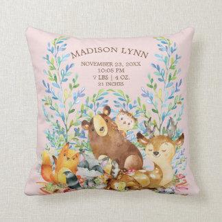 Woodland Animals Baby Girls Birth Stats Pillow
