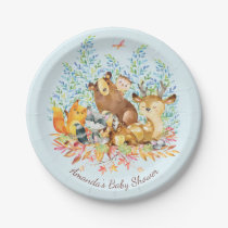 "Woodland Animals Baby Shower 7"" Plate"