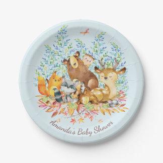 "Woodland Animals Baby Shower 7"" Plate"