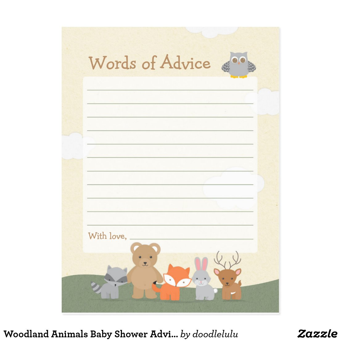 Woodland Animals Baby Shower Advice Game Postcard