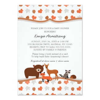 Woodland Animals Baby Shower / birthday party 5x7 Paper Invitation Card