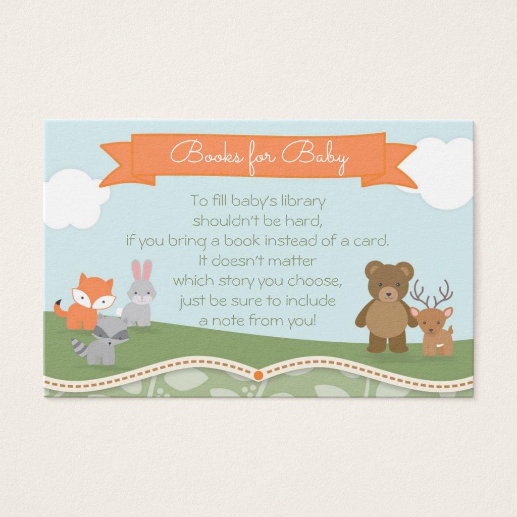 Woodland Animals Baby Shower Book Request Card