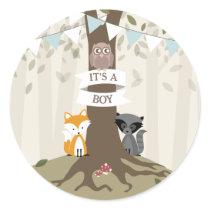 Woodland Animals Baby Shower - Boy Classic Round Sticker