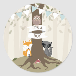Woodland Animals Baby Shower - Boy Classic Round Sticker