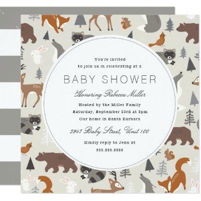 Woodland Animals Baby Shower Invitation | Zazzle