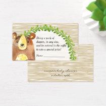 Woodland Animals Baby Shower Diaper Raffle Business Card