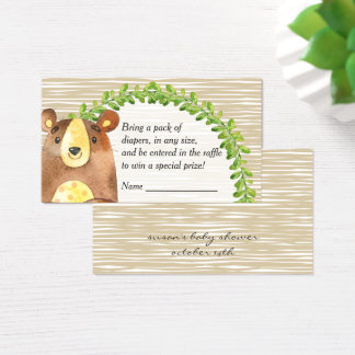 Woodland Animals Baby Shower Diaper Raffle Business Card