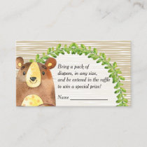 Woodland Animals Baby Shower Diaper Raffle Enclosure Card
