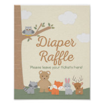 Woodland Animals Baby Shower Diaper Raffle Sign