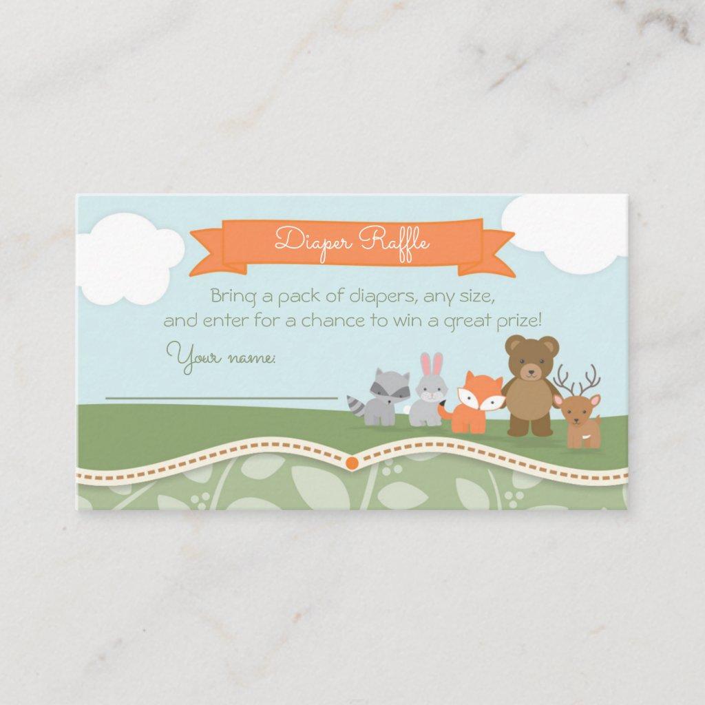 Woodland Animals Baby Shower Diaper Raffle Ticket Enclosure Card
