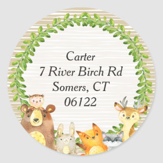 Woodland Animals Baby Shower Envelope Seal Address