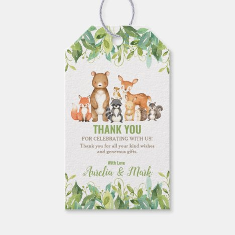 Woodland Animals Baby Shower Forest Boy Favor Gift Tags