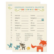 Woodland Animals Baby Shower Games - owl, fox Card