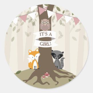 Woodland Animals Baby Shower - Girl Classic Round Sticker