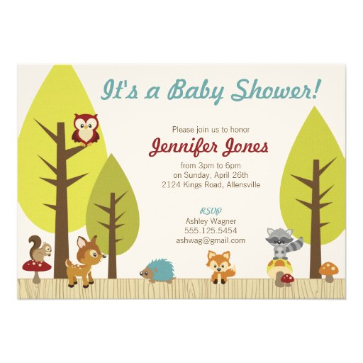 woodland animals baby shower invitation 5 x 7 invitation card
