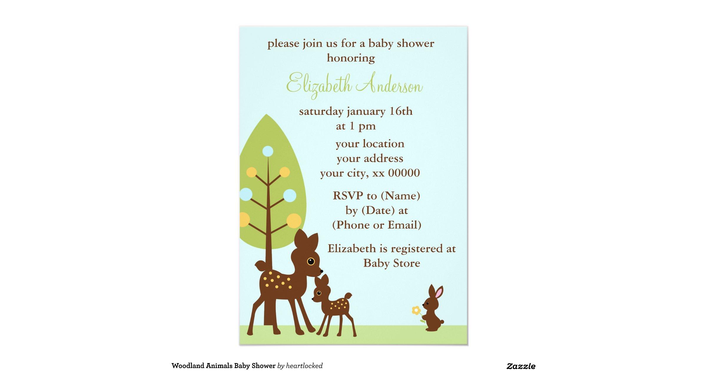 woodland animals baby shower 5x7 paper invitation card zazzle