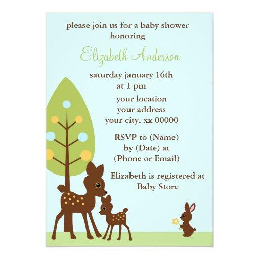 Woodland Animals Baby Shower 5x7 Paper Invitation Card