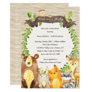 woodland animal baby shower invitations zazzle