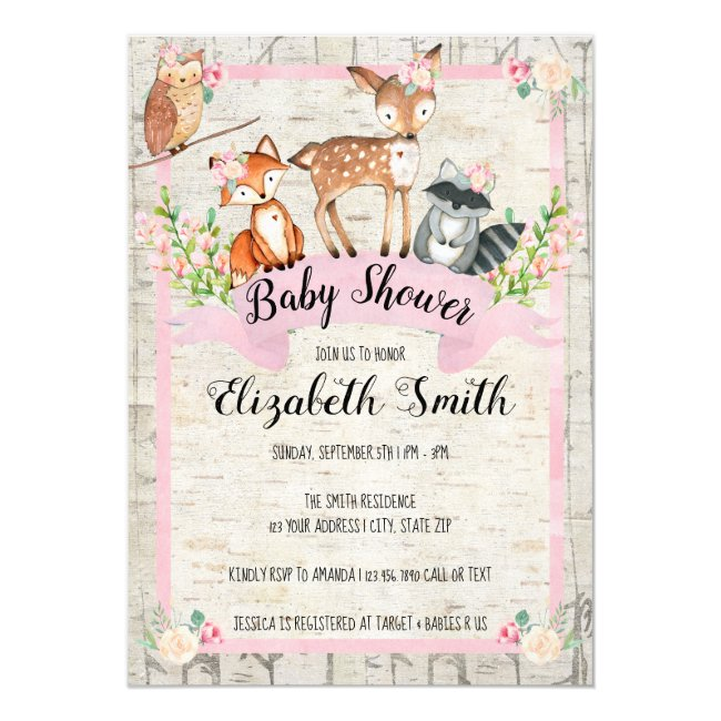 Woodland Animals Baby Shower Invitation Girl