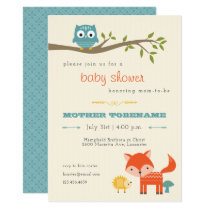 Woodland Animals Baby Shower Invitation - owl, fox
