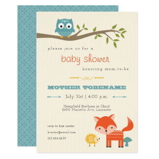 Woodland Animals Baby Shower Invitation   Owl, Fox