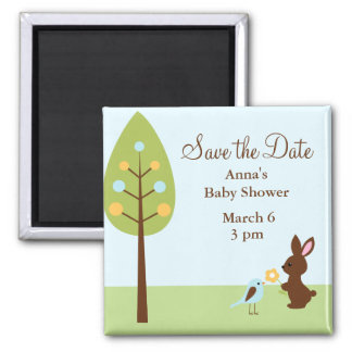 Woodland Animals Baby Shower 2 Inch Square Magnet