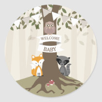 Woodland Animals Baby Shower Neutral Classic Round Sticker