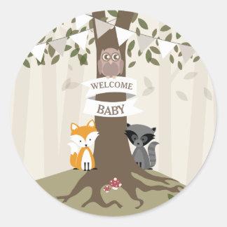 Woodland Animals Baby Shower Neutral Classic Round Sticker